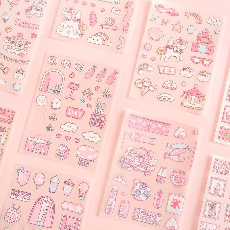 Aroee Sticker Set 4 Tờ Hình Dán Đáng Yêu Trang Trí Sổ Lưu Niệm Đa Dụng