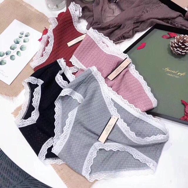 Quần lót nữ cotton  /🔥 FREESHIP 🔥 Đơn 250k / Quần lót cotton nữ Victoria sang trọng cuốn hút hộp 4 quần cao cấp
