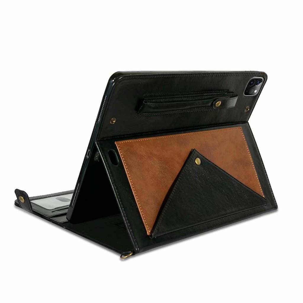 Bao da phối ví dạng gập có dây đeo vai và ngăn đựng bút cho iPad pro 11 12.9 2020