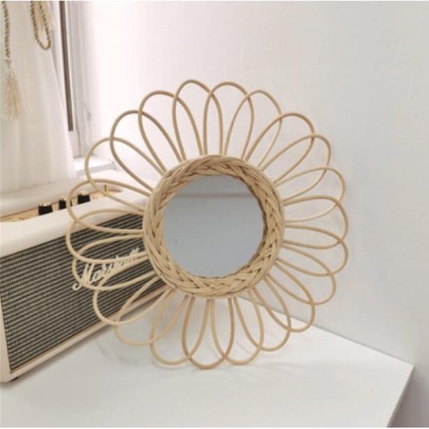 Gương mây hình mặt trời, gương hoa hướng dương đan mây, gương mây treo tường, gương decor