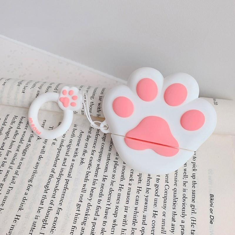 Case Airpods hình chân mèo đáng yêu, vỏ ốp đựng bảo vệ tai nghe bluetooth Airpod 1 2 Pro chất liệu silicon dẻo