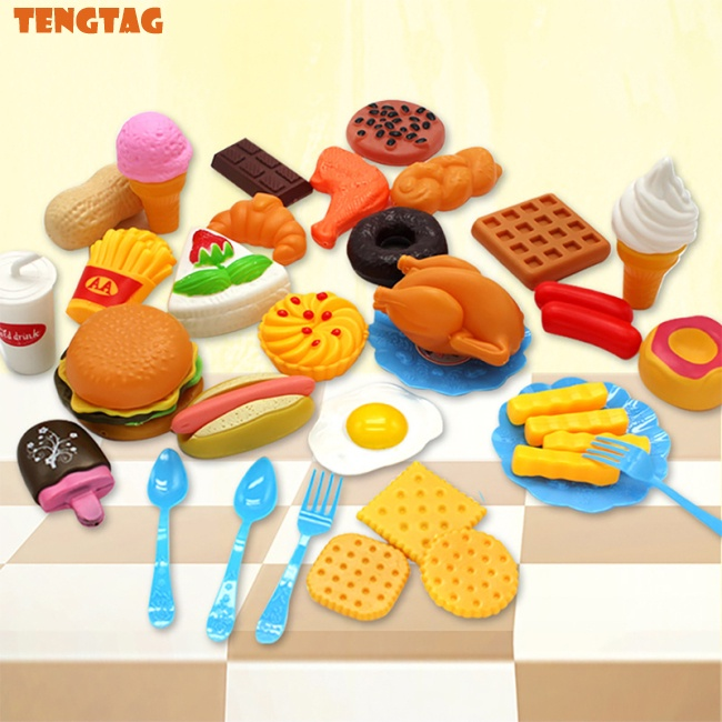 TENTA Plastic Fast Food Playset Mini Hamburg French Fries Hot Dog Ice Cream Cola Food Toy for Children Pretend Play Gift for Kids