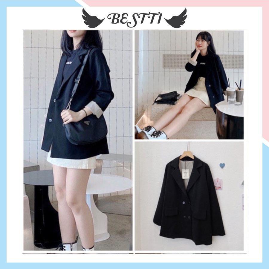 Blazer nữ 2 lớp, áo blazer ulzzang - Áo vest màu đen, áo vest nữ Siêu Đẹp BZ02