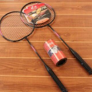 Bộ cầu lông ( 2 vợt 1 hộp 2 cầu )