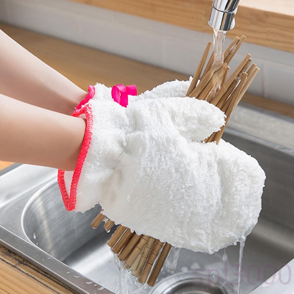 1 Găng Tay Rửa Chén Sợi Tre Chống Dầu