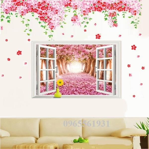 Decal dán tường combo tán đào và cửa sổ hồng - 3548919 , 1053090964 , 322_1053090964 , 110000 , Decal-dan-tuong-combo-tan-dao-va-cua-so-hong-322_1053090964 , shopee.vn , Decal dán tường combo tán đào và cửa sổ hồng