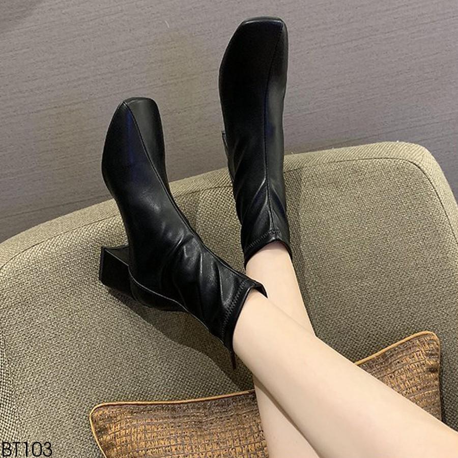 (Có Video Thật) - Giày Boot Nữ Cổ Lỡ Mũi Vuông Khóa Sau Gót Cao 6P - Chất Da Mềm Êm Chân BT103
