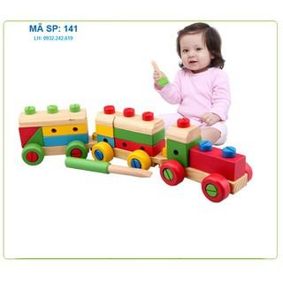 đồ chơi gỗ| đồ chơi thông minh cho bé| đồ chơi lắp ráp| tàu hỏa lắp ghép 141| đồ chơi an toàn cho bé