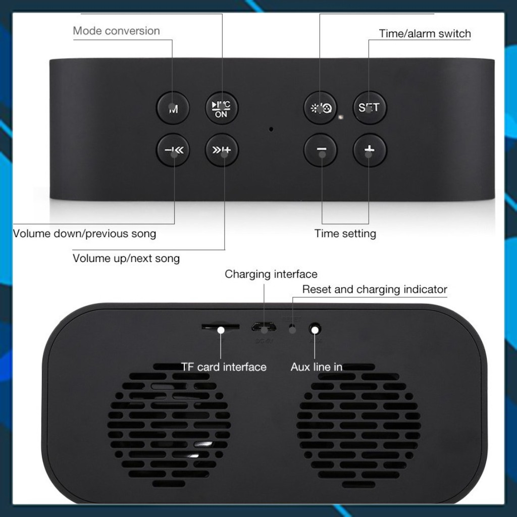 Loa Bluetooth đọc thẻ Micro SD - TF Kết nối máy tính cổng 3.5mm AUX đèn Led gương - âm thanh chất lượng.