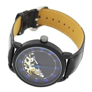 Đồng hồ cơ bằng thép không gỉ, dây đeo giả da thời trang cho nam