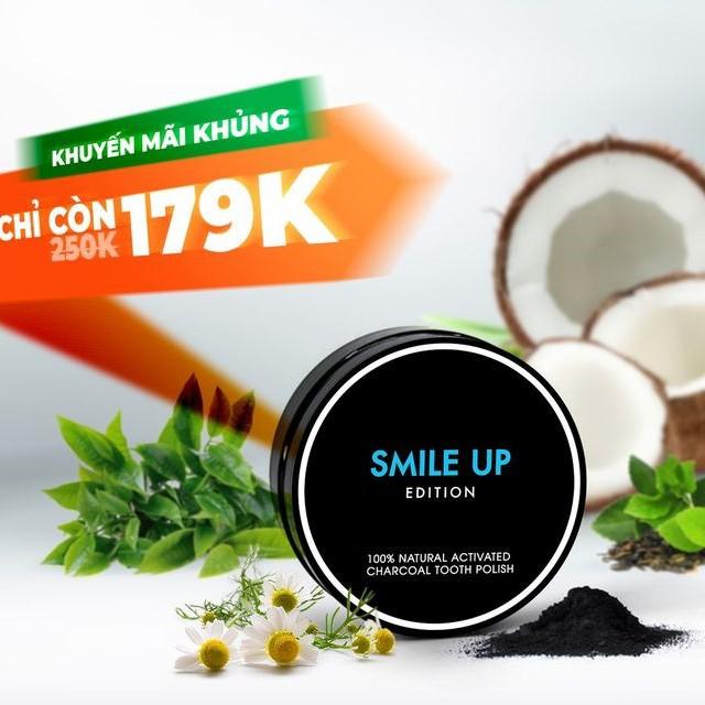 Combo Than Hoạt Tính Trắng Răng Smile Up 80g và Nước Súc Miệng Smile Up Cool Mint 80ml