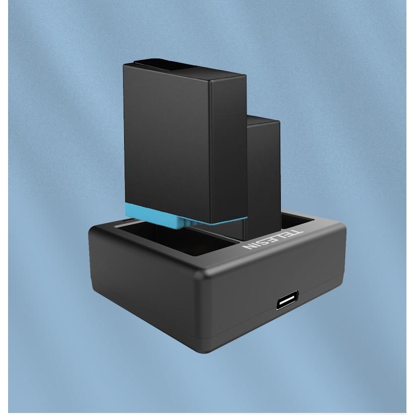 Combo Sạc 3 + 2 Pin cho GoPro 9 Telesin - Bộ Pin Sạc Cho Máy Quay Hành Trình GoPro Hero 9 - Phụ Kiện GoPro