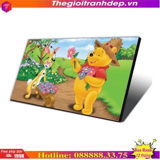 Tranh đồng hồ bàn hoạt hình gấu Pooh