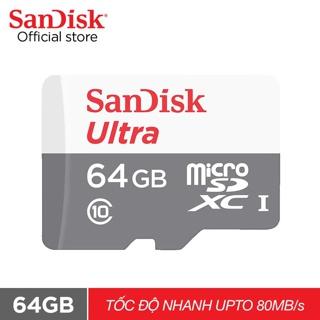 Thẻ nhớ micro SDXC Sandisk 64GB upto 80MB/s 533X Ultra UHS-I - Hãng phân phối chính thức