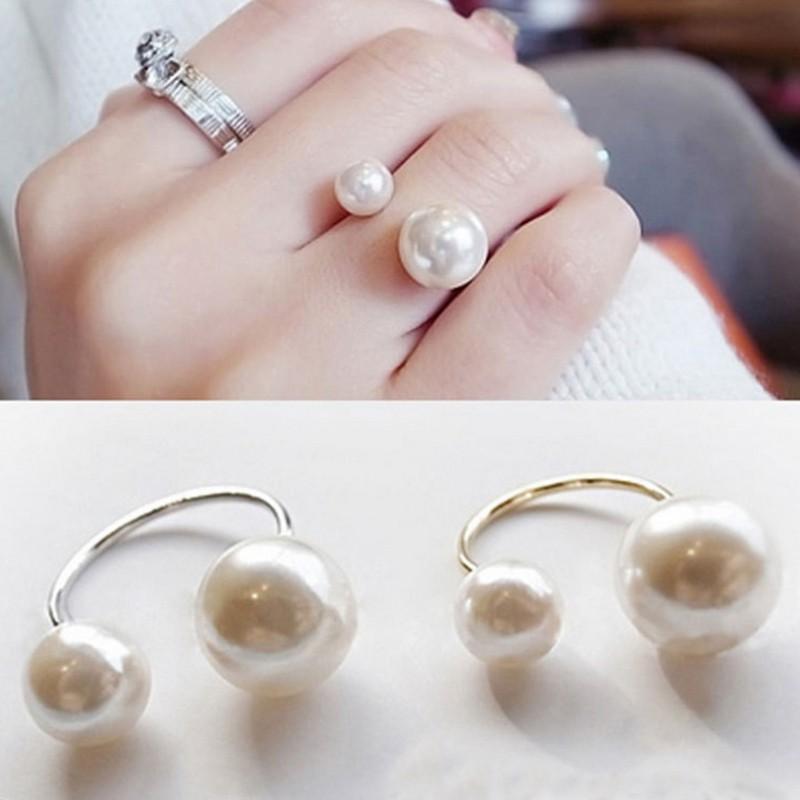 Fashion Women Girls Two Imitation Pearl Opening Ring Wedding Adjustable Finger Ring Jewelry Gifts -Hàng nhập khẩu