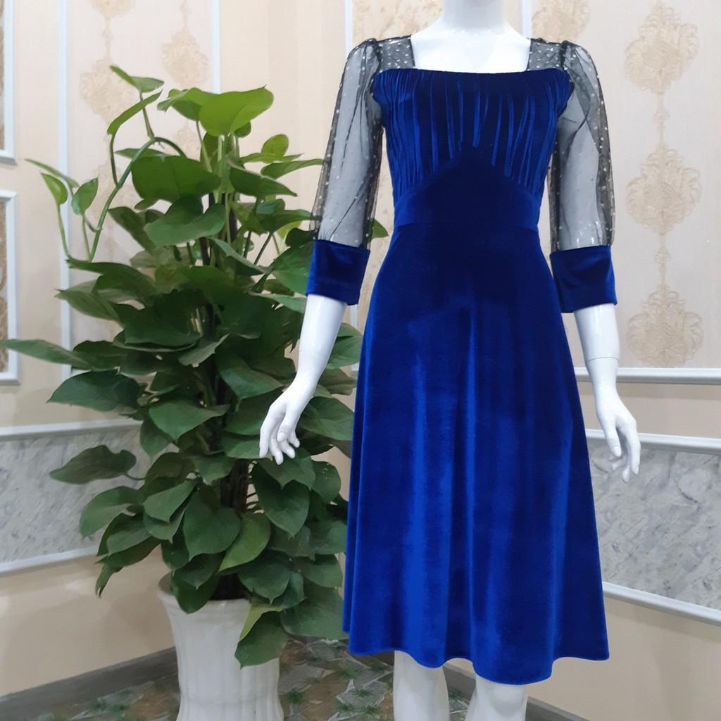 3422483266 - váy đầm dự tiệc vải nhung phối lưới V3