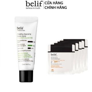 [HB Gift] Bộ Sữa rửa mặt thảo dược cô đặc Belif Creamy Cleansing Foam Moist và Kem chống nắng Belif UV Protector Gimmick