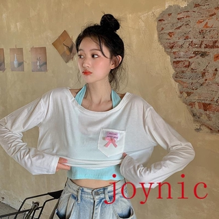 ready stock ❤ joynic ❤ 【S——3XL】 White Long-SleeveTWomen's Autumn New T-shirt2020Short High Waist Loose Navel Top Net RedinsXiaoqing Trendy【7Shipped Within Days】Autumn and Winter Korean Version of Bottoming Shirt Was ThininsTrendy Mesh Loose Knit Top