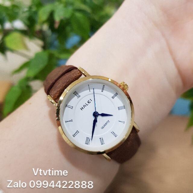 Đồng hồ chính hãng nam nữ Halei dây da bò chống nước