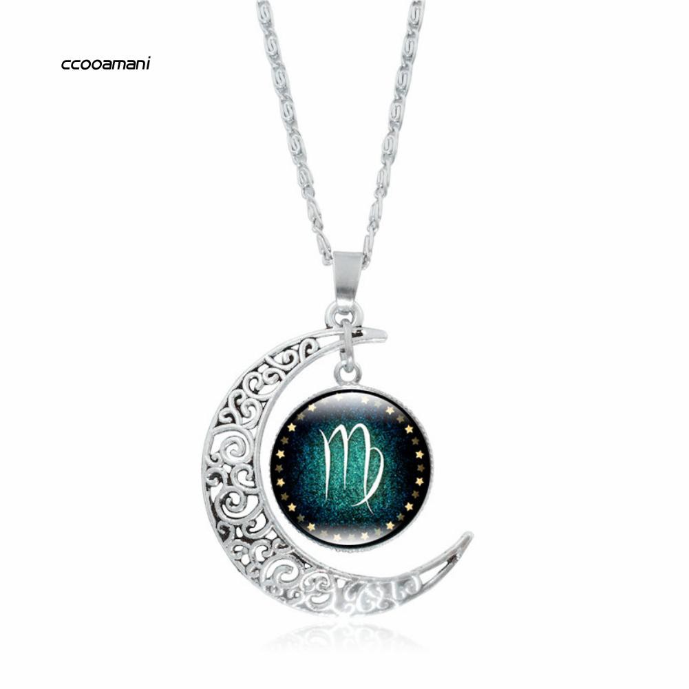 XL-12 Constellations Cabochon Glass Pendant Moon Necklace Women Party Jewelry Gift