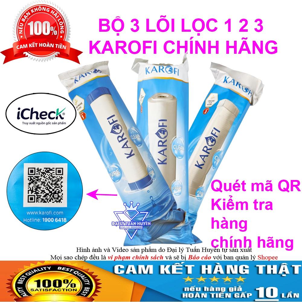 Bộ 3 Lõi lọc nước karofi 1,2,3 chính hãng, dùng cho máy lọc nước RO