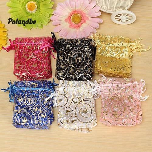 Bộ 100 túi dây rút đựng quà/ trang sức dịp đám cưới Giáng Sinh