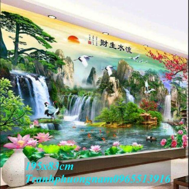 Tranh thêu phong cảnh đẹp khổ lớn 195x83cm - 3491204 , 1172363761 , 322_1172363761 , 430000 , Tranh-theu-phong-canh-dep-kho-lon-195x83cm-322_1172363761 , shopee.vn , Tranh thêu phong cảnh đẹp khổ lớn 195x83cm