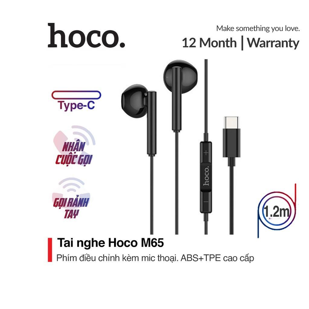 Tai nghe nhét tai Hoco M65 chân Type-C microphone có tính năng lọc ồn dài 1.2M cho Android