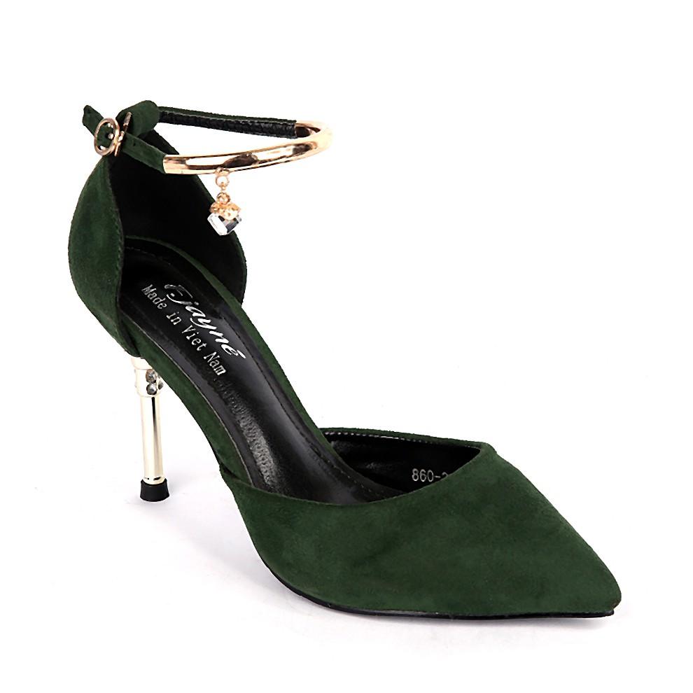Giày cao gót nữ 860-2 màu xanh rêu