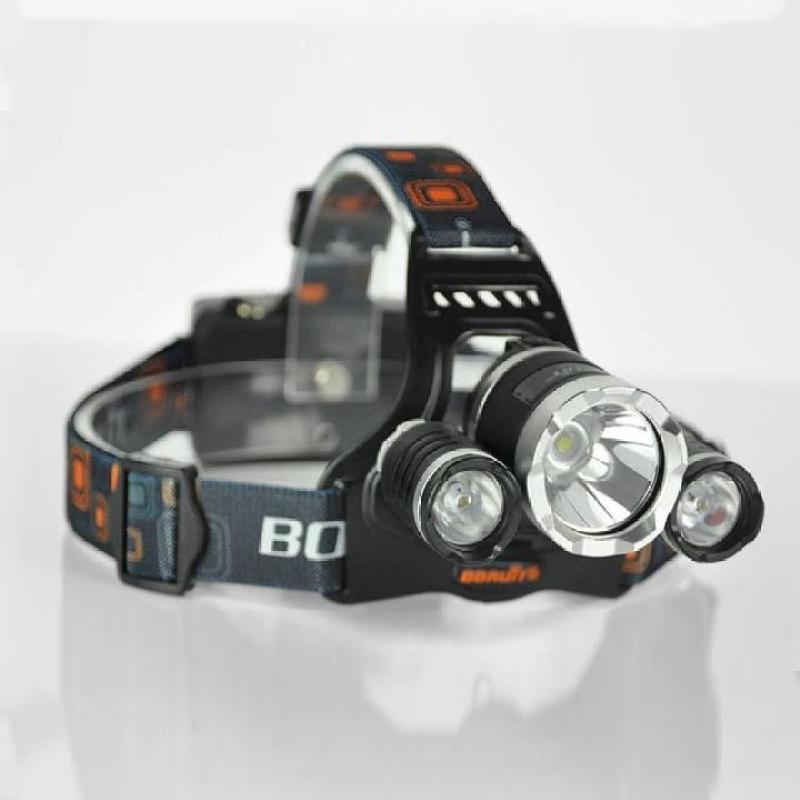 Đèn pin đội đầu siêu sáng-đèn pin đội đầu  tiết kiệm pin - Đèn Pin Led 𝑺𝑰𝑬̂𝑼 𝑺𝑨́𝑵𝑮 Sán Đội Đầu 3 Bóng (Đen) Nhiều Ch