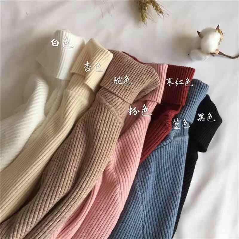 Áo Sweater Tay Dài Cổ Cao Dáng Ôm Xinh Xắn Thời Trang 28587