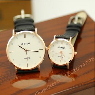 Đồng hồ đôi nam, nữ jaefor dây da thumbnail