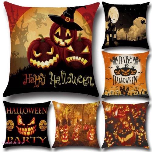 Vỏ gối hình bí ngô phong cách Halloween
