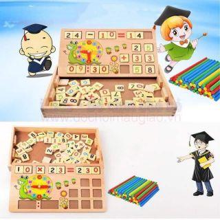 Bảng gỗ 2 mặt Dạy bé học toán có que tính, bảng viết và chữ số