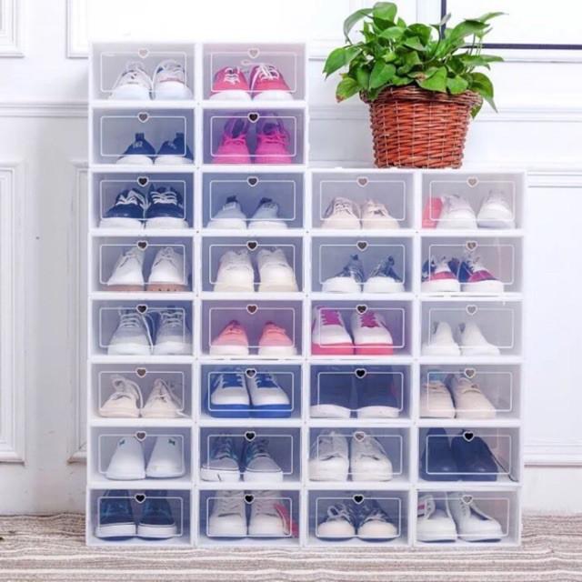 Hộp Đựng Giày Dép Nắp Nhựa Cứng Trong Suốt, Size lớn Chịu Lực 4kg