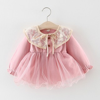 Toddler Baby Kid Girls Ruffles Lace Tulle Patchwork Solid Casual Dresses Clothes