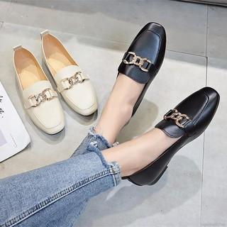 Giày đế bằng thiết kế mũi vuông chống trượt thanh lịch cho nữ