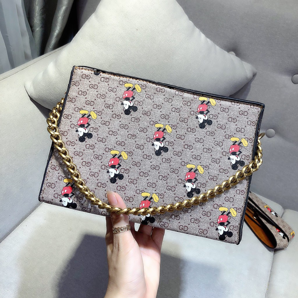 Túi đeo chéo nữ dây xích thời trang hàn quốc 2 dây in họa tiết nhỏ mẫu HOT