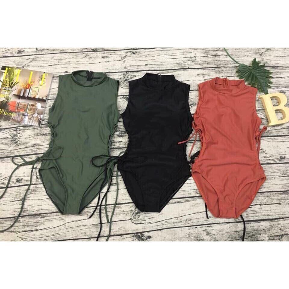 Bikini một mảnh áo tắm nữ liền dây đan 2 bên khóa lưng đẹp ( Ảnh chụp thật 100%)