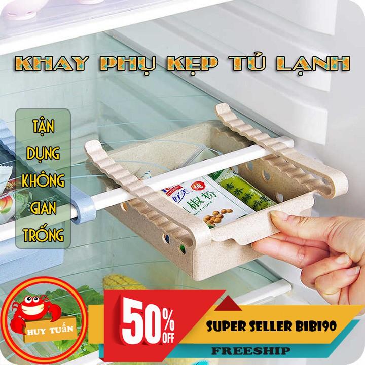 Khay phụ đựng đồ kẹp tủ lạnh thông minh bằng nhựa lúa mạch bibi90