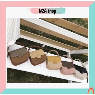 Túi xách nữ THANH LÝ [có sẵn] Túi đeo chéo da Pu phối màu, khóa khuy tròn N2a shop