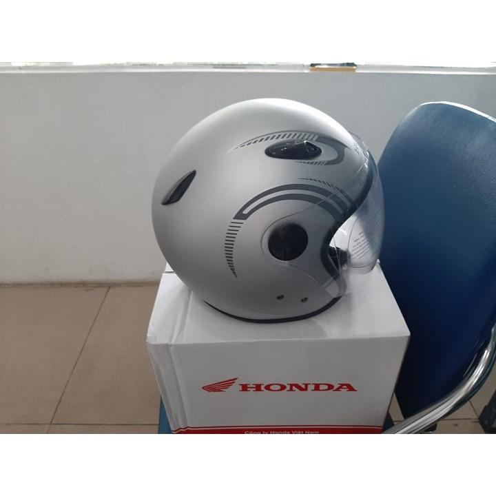 Mũ bảo hiểm 3/4 đầu Honda dáng thể thao - BẠC (Bảo hành 6 tháng)