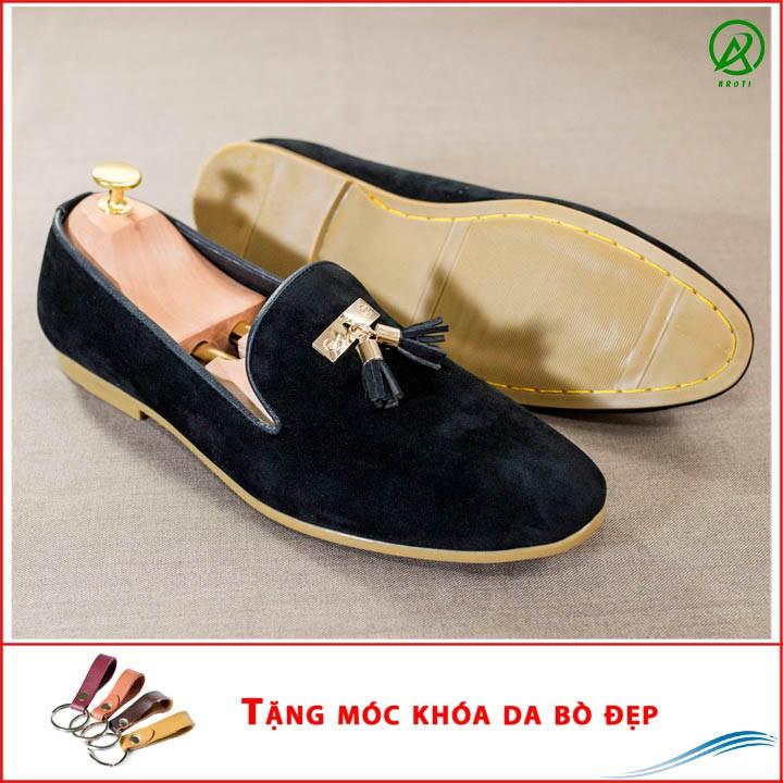 Giày Lười Nam Đẹp Đế Khâu Chuông Vàng Da Búc Màu Đen Sang Trọng - Giày Lười Nam M124-BUCK(K)-Kèm Móc Khóa Da Bò Đẹp