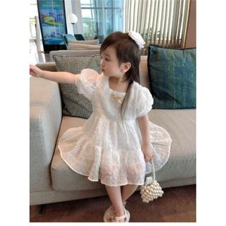 Đầm công chúa tay phòng , chất vôn bi nổi, trắng- hồng cho bé gái từ 8-22kg