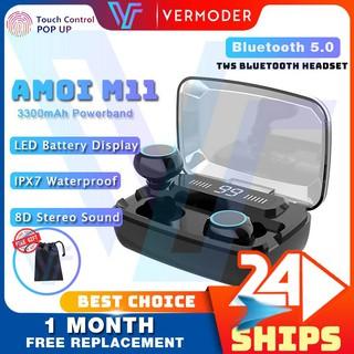 Nguyên bản AMOI M11 TWS 5.0 Tai nghe Bluetooth Tai nghe nhét tai không dây Màn hình LED Điều khiển cảm ứng Tai nghe AirDots Âm thanh nổi HiFi Bass