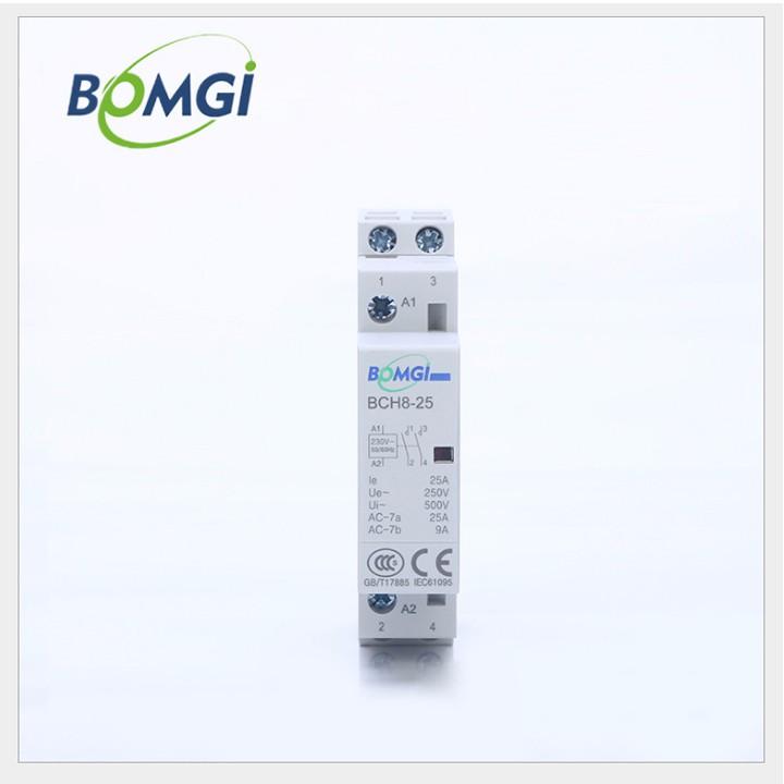 Khởi động từ công tắc tơ BOMGI 2P 25A 220v dùng để lắp cùng công tắc điều khiển từ xa công tắc hẹn giờ công tắc wifi