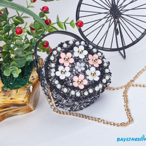 Túi xách đeo chéo vai hình tròn đính ngọc trai họa tiết hoa nhỏ xinh cho bé gái