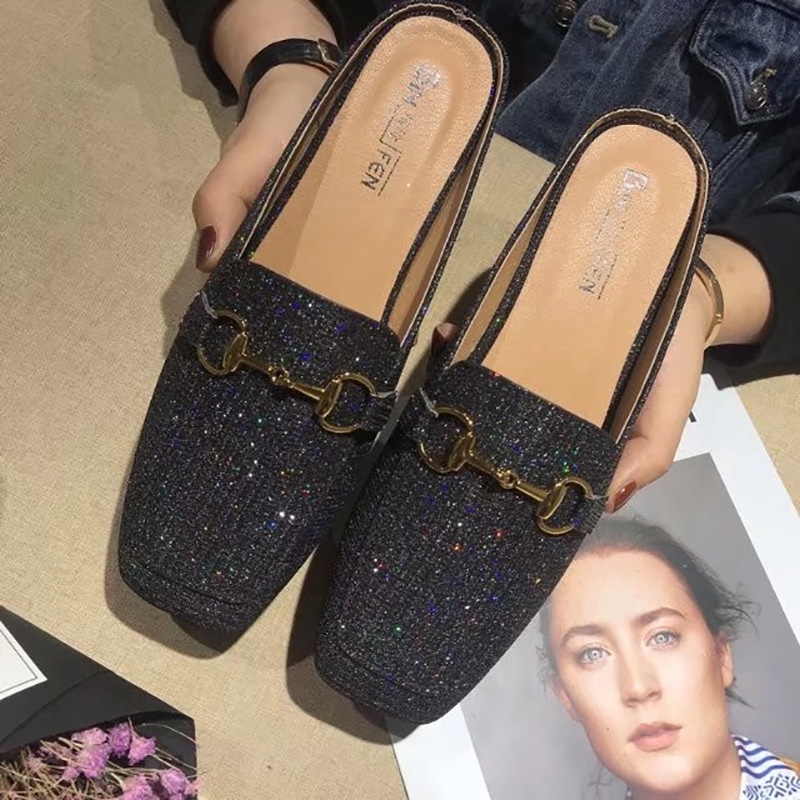 ﹊Bag head half slippers women's 2019 new summer outwear withno heels lazy shoes flat-bottomed vintage granny