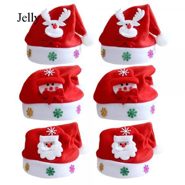 6PCS Unisex Men Women Christmas Santa Claus Caps Hat Decoration for Adults J371