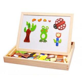 Bảng ghép nam châm hình thú 2 mặt bằng gỗ cho bé -Gía Sốc